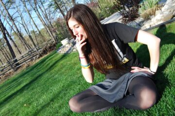 European Girls From Russia Love To Smoke Cigarettes - Pantyhose Short Skirt
