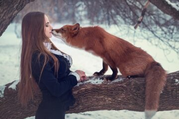 Russian Winter - Russian Girl Kisses Fox In Snow Covered Forest